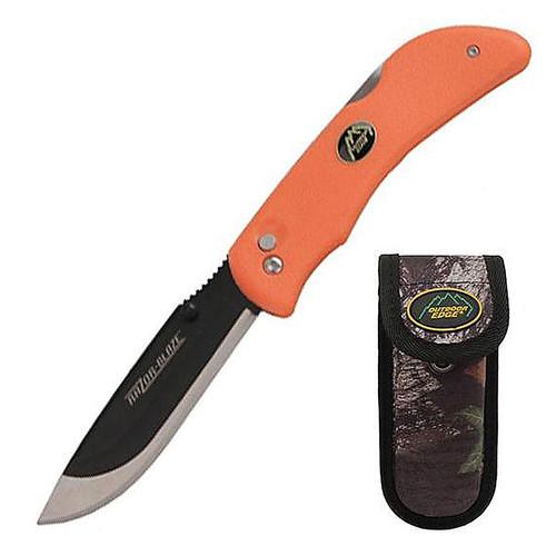 "Outdoor Edge RB-20 Razor Fixed 3.5"" Blade Blaze Orange Knife with Sheath"