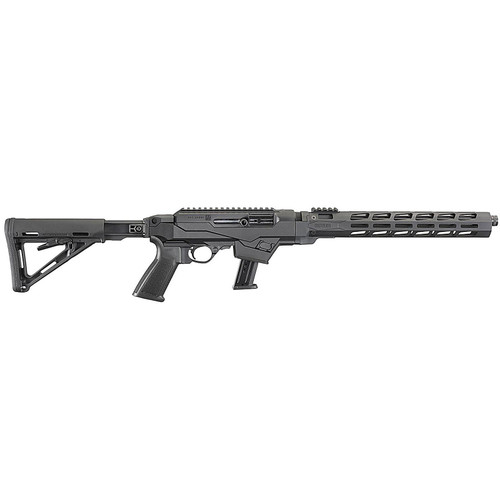 """Ruger PC Carbine Semi-automatic Rifle 9mm 16.12"""" Cold Hammer Forged Barrel Threaded and Fluted 1/2X28 Threads Black Anodized Finish Black Synthetic Stock 1 Mag 17Rd M-LOK Handguard Weighs 7.3lbs 19122"""