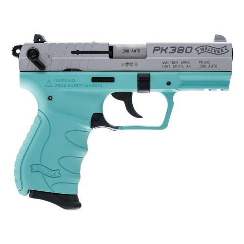 "Walther PK380 .380ACP 3.66"" Barrel SS Slide Angel Blue Frame 3-Dot Sights 8rd Mag"