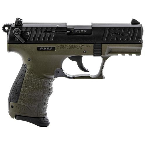 "Walther P22 QD 22LR 3.42"" OD Green Interchangeable Backstrap Grip and Frame Black Slide 10rd"