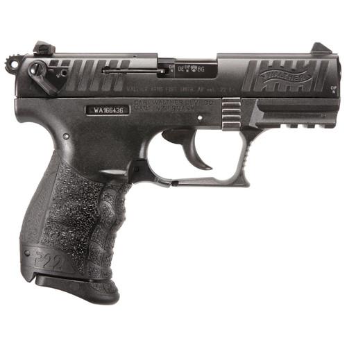 "Walther P22 QD 22LR 3.42"" Black Interchangeable Backstrap Grip Black Slide 10rd"