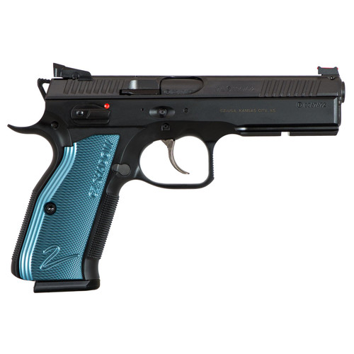 "CZ SP-01 Shadow 2 9mm 4.9"" Adj. Target Sights Steel Frame Blue Aluminum Grips 17rd Mag"