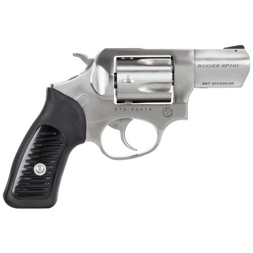 """Ruger SP101 357 Mag 2.25"""" Rubber Grip Satin Fixed Sights Stainless 5rd"""