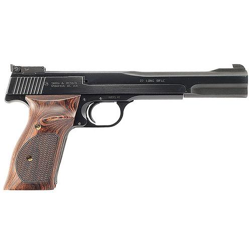 "Smith & Wesson Model 41 22LR 7"" Adjustable Sight Wooden Target Thumbrest Grip Blue 10rd"