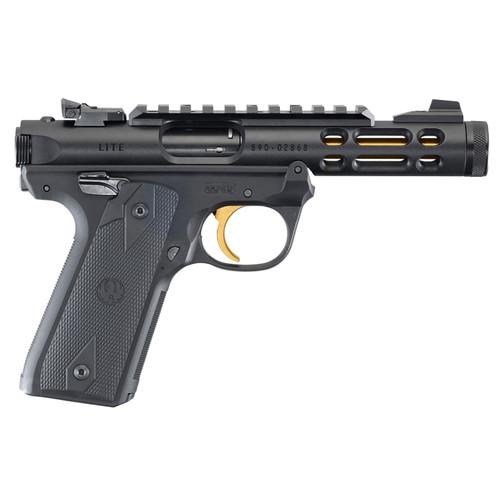 """Ruger Mark IV Lite 22/45 22LR 4.4"""" Gold Finished Threaded Barrel Polymer Frame Black Finish Checkered Grips 10Rd Mag"""