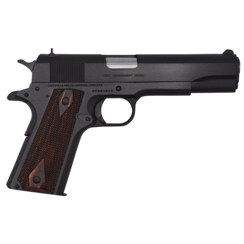 """Colt 1911 Government. 45 ACP 5"""" Barrel 7rd Mag Rosewood Grip Blued"""