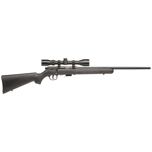 """Savage 93R17 FXP with Scope Bolt 17 HMR 21"""" Barrel Synthetic Black Stock Blued 5rd"""