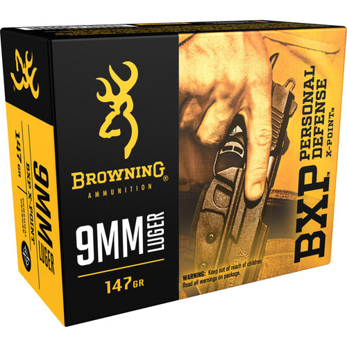 Browning Ammo B191700091 BXP 9mm Luger 147 GR Hollow Point HP 20 Box