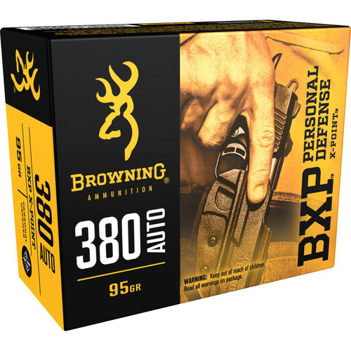 Browning Ammo B191703801 BXP 380 ACP 95 GR Hollow Point HP 20 Box