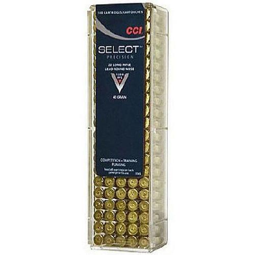 CCI .22 Long Rifle Select Ammunition 40 Grain LRN 1200 fps 100 Round Box