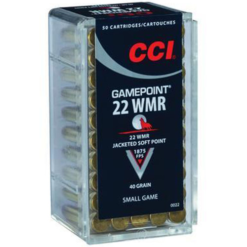 CCI 0022 Small Game GamePoint 22 Winchester Magnum Rimfire WMR 40 GR Jacketed Soft Point 50 Box