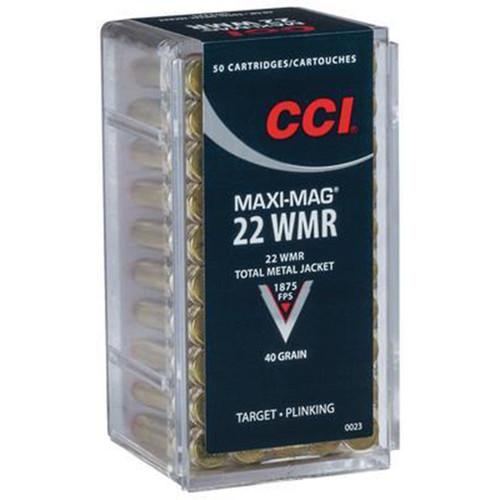 CCI 0023 Target Plinking MaxiMag 22 Winchester Magnum Rimfire WMR 40 GR Total Metal Jacket 50 Box