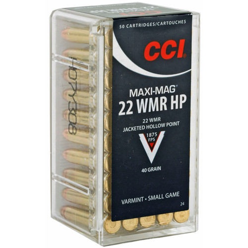 CCI 0024 Varmint MaxiMag 22 Winchester Magnum Rimfire WMR 40 GR Jacketed Hollow Point 50 Box