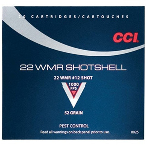CCI 0025 Pest Control MaxiMag Shotshell 22 Winchester Magnum Rimfire WMR 52 GR 12 Shot 20 Box