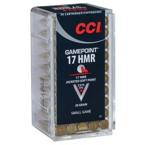CCI 0052 Small Game GamePoint 17 HMR 20 GR Jacketed Soft Point 50 Box