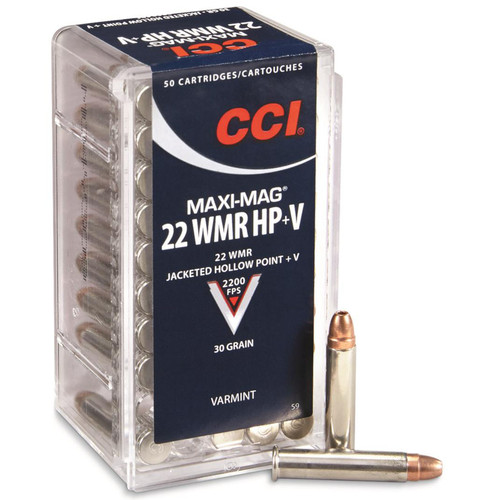 CCI 0059 Varmint MaxiMag Hyper Velocity 22 Winchester Magnum Rimfire WMR 30 GR Jacketed Hollow Point 50 Box