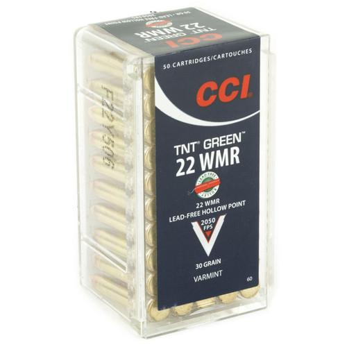 CCI 0060 Varmint TNT Green 22 Winchester Magnum Rimfire WMR 30 GR Hollow Point 50 Box