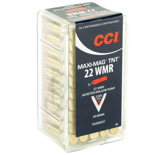 CCI 0063 MaxiMag TNT 22 Winchester Magnum Rimfire WMR 30 GR Jacketed Hollow Point 50 Box