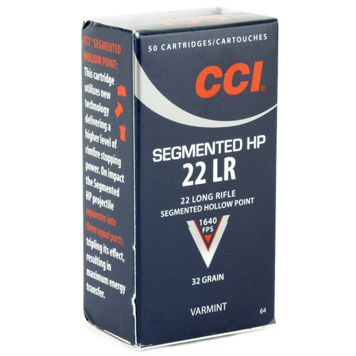 CCI 0064 Varmint Segmented 22 Long Rifle LR 32 GR CopperPlated Hollow Point 50 Box