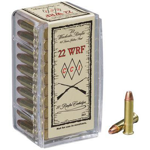 CCI 0069 Specialty WRF 22 Winchester Rimfire WRF 45 GR Jacketed Hollow Point 50 Box