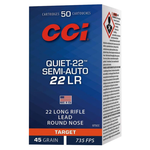 CCI 975CC Target Plinking Quiet22 22 LR 45 GR Lead Round Nose 50 Box