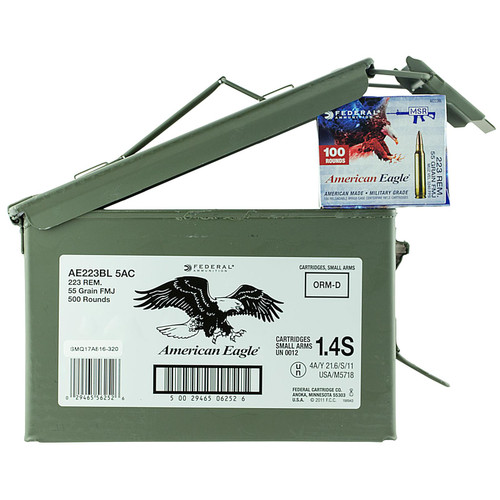 Federal AE223BL5AC American Eagle 223 Rem5.56NATO 55 GR Full Metal Jacket FMJ 500 Box
