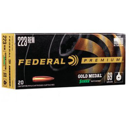 Federal GM223M Gold Medal 223 Rem5.56NATO 69 GR Sierra MatchKing BoatTail Hollow Point BTHP 20 Box