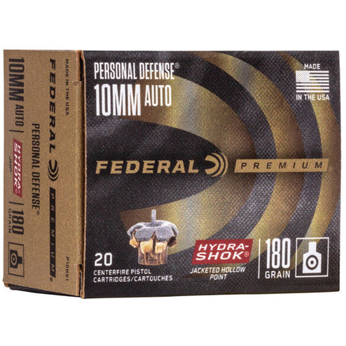 Federal P10HS1 Premium Personal Defense 10mm Auto 180 GR HydraShok Jacketed Hollow Point 20 Box