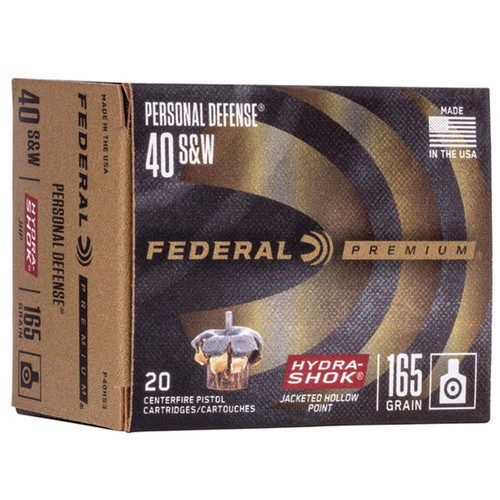 Federal P40HS3 Premium Personal Defense 40 SW 165 GR HydraShok Jacketed Hollow Point 20 Box
