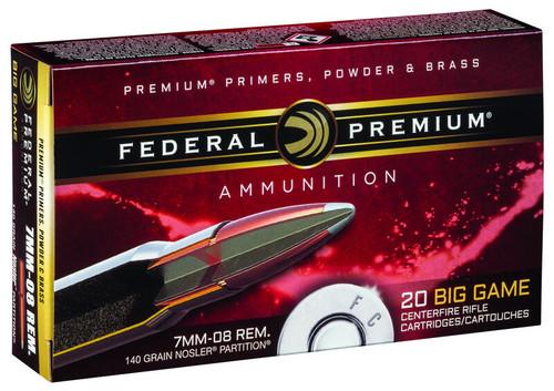 Federal P708A Premium 7mm08 Remington 140 GR Nosler Partition NP 20 Box