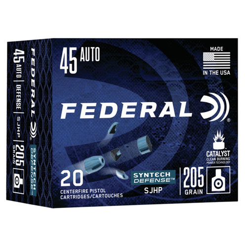 Federal S45SJT1 Syntech Defense 45 ACP 205 GR Segmented Jacketed Hollow Point SJHP 20 Box
