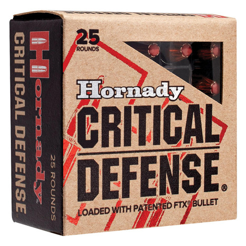 Hornady 90080 Critical Defense FTX 380 Automatic Colt Pistol ACP 90 GR Flex Tip Expanding 25 Box