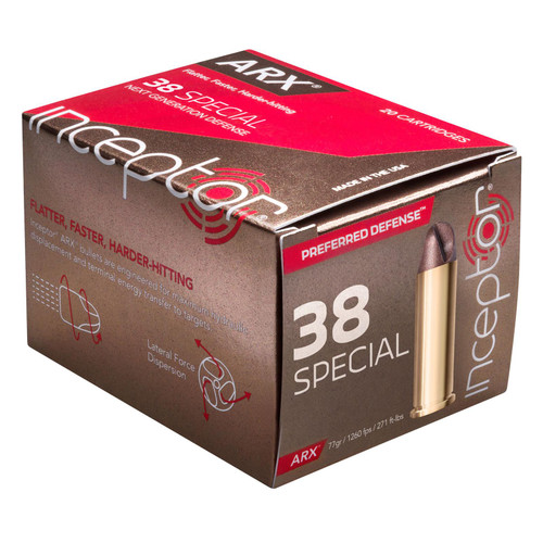 Inceptor 38ARXBRS920 Preferred Defense 38 Special 77 GR ARX 20 Box