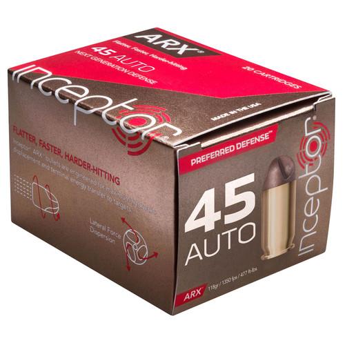 Inceptor 45ARXBR11820 Preferred Defense 45 ACP 118 GR ARX 20 Box