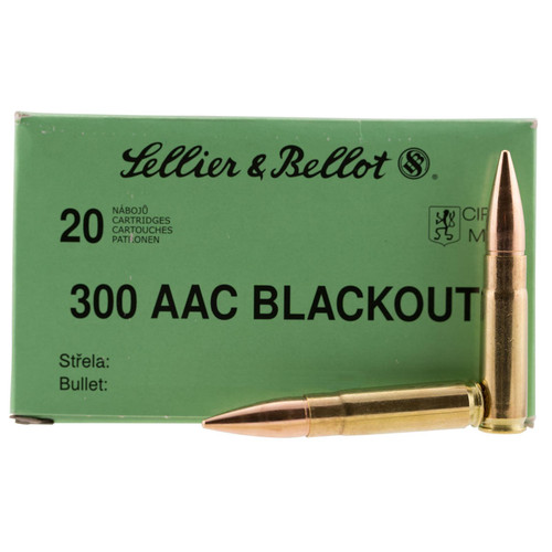 Sellier Bellot 300BLKSUBA Rifle 300 AAC BlackoutWhisper 7.62x35mm 200 GR Full Metal Jacket Subsonic 20 Box