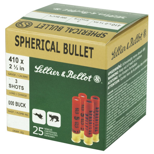 Sellier Bellot SB410A Shotgun 410 Gauge 2.5 3 Pellets 000 Buck Shot 25 Box