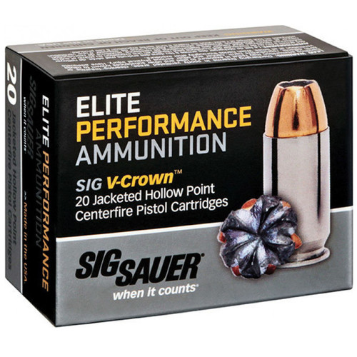 Sig Sauer E10MM120 Elite VCrown 10mm Auto 180 GR Jacketed Hollow Point JHP 20 Box