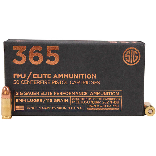 Sig Sauer E9MMB136550 Elite Ball 9mm Luger 115 GR Full Metal Jacket FMJ 50 Box