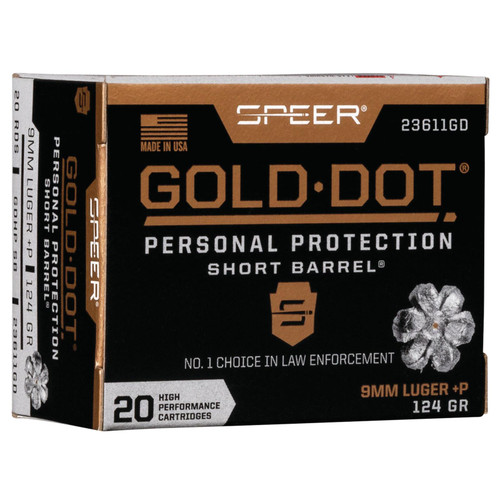Speer Ammo 23611GD Gold Dot Personal Protection 9mm Luger P 124 GR Hollow Point Short Barrel 20 Box