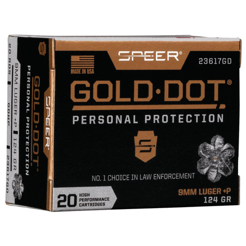 Speer Ammo 23617GD Gold Dot Personal Protection 9mm Luger P 124 GR Hollow Point HP 20 Box