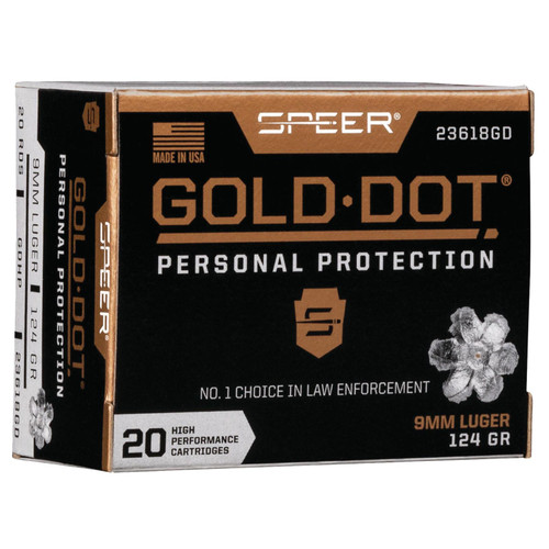 Speer Ammo 23618GD Gold Dot Personal Protection 9mm Luger 124 GR Hollow Point HP 20 Box