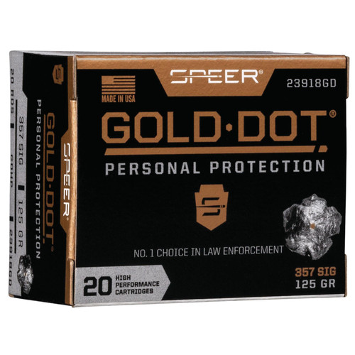 Speer Ammo 23918GD Gold Dot Personal Protection 357 Sig 125 GR Hollow Point HP 20 Box