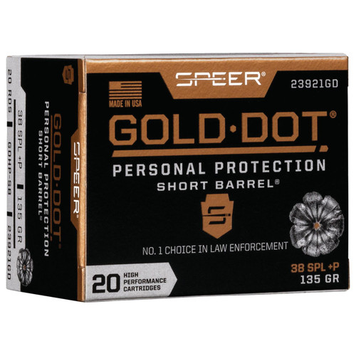 Speer Ammo 23921GD Gold Dot Personal Protection 38 Special P 135 GR Hollow Point Short Barrel 20 Box