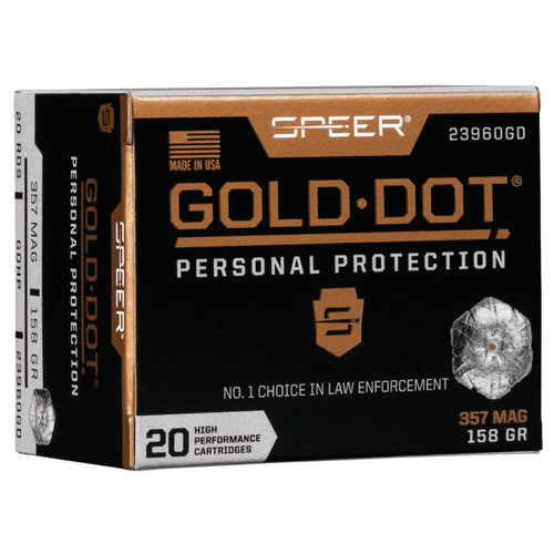 Speer Ammo 23960GD Gold Dot Personal Protection 357 Mag 158 GR Hollow Point HP 20 Box