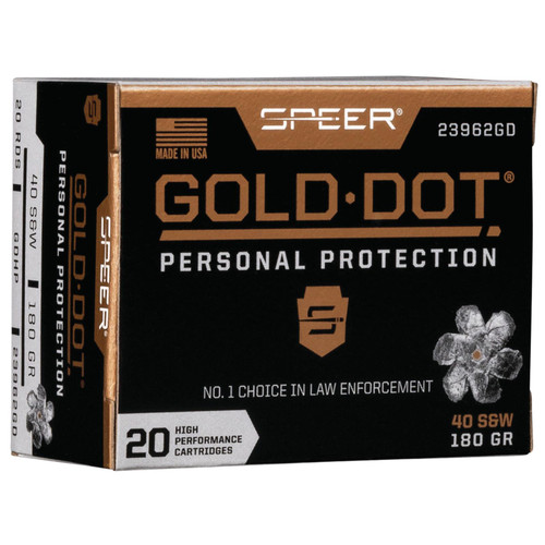Speer Ammo 23962GD Gold Dot Personal Protection 40 SW 180 GR Hollow Point HP 20 Box