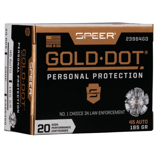 Speer Ammo 23964GD Gold Dot Personal Protection 45 ACP 185 GR Hollow Point HP 20 Box