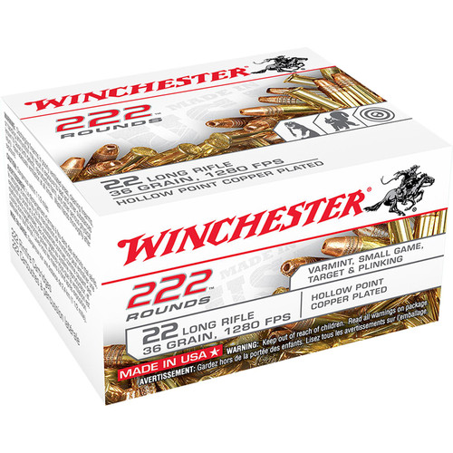 Winchester Ammo 22LR222HP USA 22 LR 36 GR Copper Plated Hollow Point CPHP 222 Box