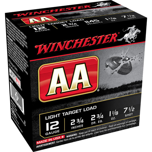 Winchester Ammo AA127 AA Light Target Load 12 Gauge 2.75 1 18 oz 7.5 Shot 25 Box