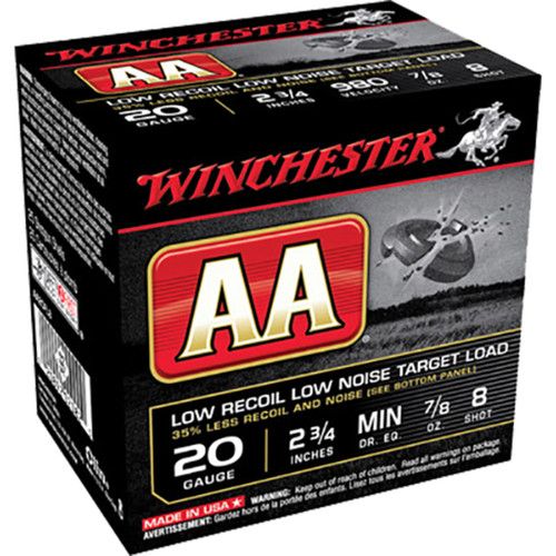 Winchester Ammo AA20FL8 AA Low Recoil Low Noise 20 Gauge 2.75 78 oz 8 Shot 25 Box