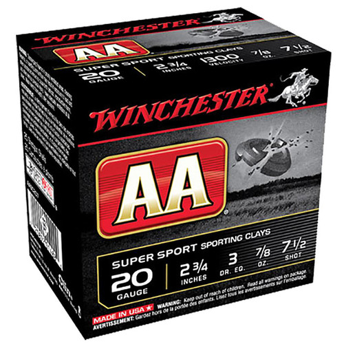 Winchester Ammo AASC207 AA Super Sport 20 Gauge 2.75 78 oz 7.5 Shot 25 Box